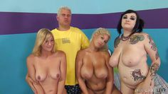 he gets humiliated by three busty sluts
