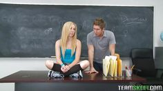 hot blonde teen blows her teacher