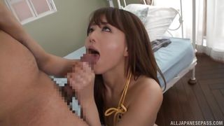 brunette japanese milf slurps and teases my cock