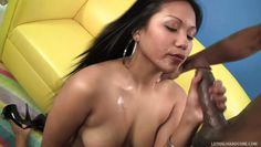lana violet spreads her pussy and sucks black dick