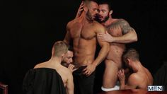 group of horny guys have fun