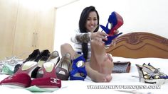 asian hottie tries on her shoes