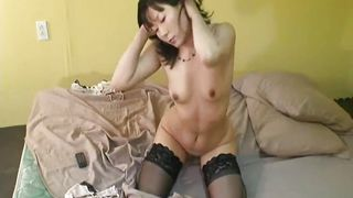asian hottie rubs her wet cunt until she cums