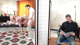 masseur fingered and face-fucked a busty blonde