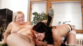 chunky mom and her brunette slut