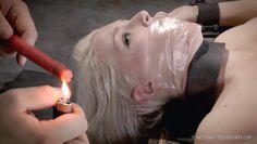 blonde slave is bent over backwards