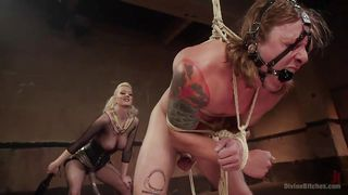 tied up man gets tortured by crazy mistress