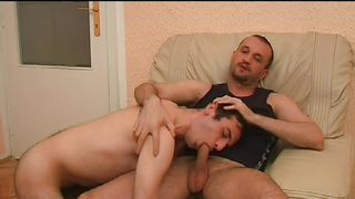gay sucks off his boyfriend and gets cumload