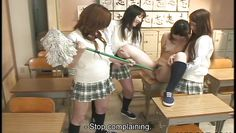 schoolgirl gets a mop in her pussy