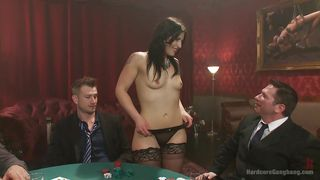 brunette slut undresses for players