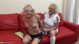 blonde mommy brutalizes her younger slut