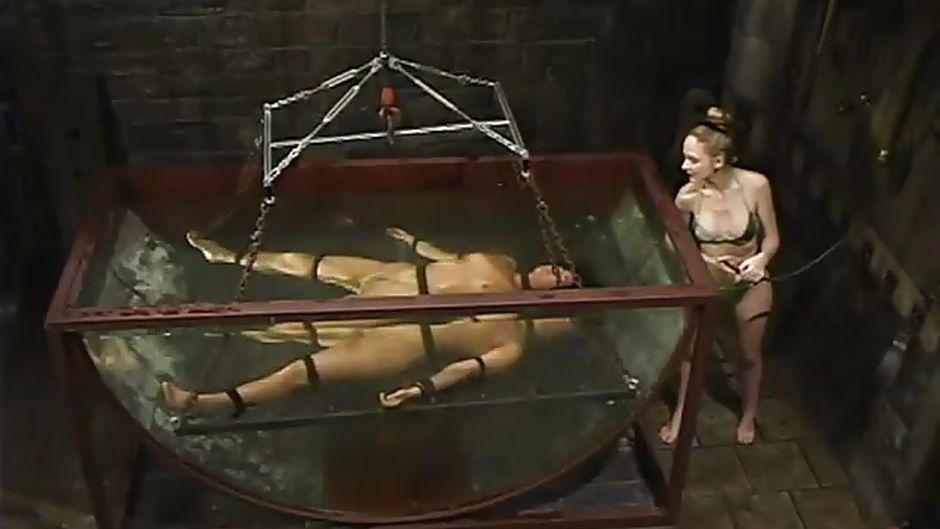 underwater Naked bondage girl