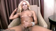 brown skin t-girl shows off huge shecock and gives blowjob