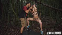 sexy and cute teen is tied up in the woods