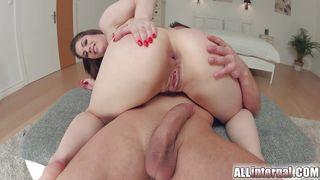 brunette tastes her anal creampie