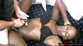ebony shemale needs two hands to strokes her cock