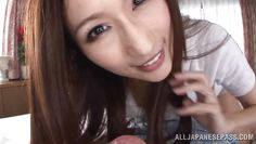 glittering eyes japanese beauty slurps my cock