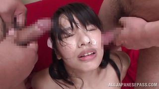 bukkake with a sensual lips asian