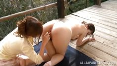 japanese lesbians have fun on the deck