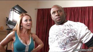 luscious redhead seduces an ebony guy