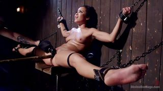 brunette gets in chains