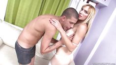 blonde tranny in white lingerie @ monsters of shemale cock #32