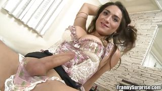sexy tranny is kissed and wanked