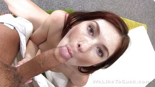 redhead kattie sucks and fucks cock like a pro
