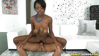 busty ebony babe in interracial fucking