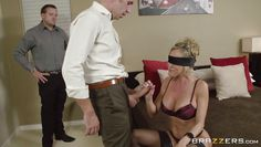 blindfolded milf is surprised by dick