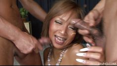 tanned japanese slut fucks two guys
