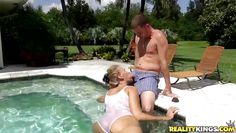 valerie and younger date frolicking in the resort