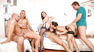 attractive babes have fun with boys @ swinger's orgies #10