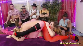 cute teens in lederhosen gangbang