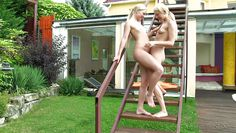 two naked blondes in my garden!