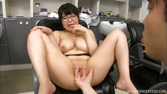 japanese brunette with huge tits was fingered hard