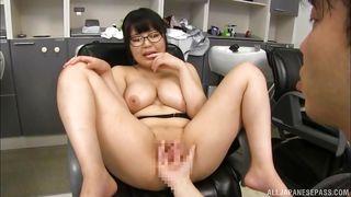 japanese brunette with huge tits was fingered hard