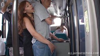 reacharound by japanese slut on the train
