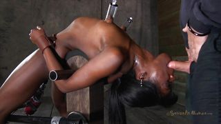tied black slut tastes her white executor
