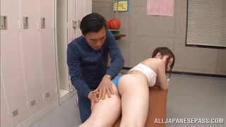 schoolgirl massaged and teased by her trainer