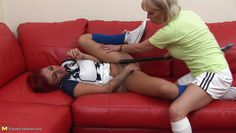 blonde mommy roughly treats her girl