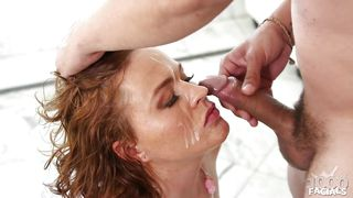 kryssy likes the taste of cum on her face
