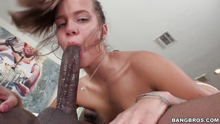 sexy white chick rides big black cock