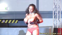 black babe shows her massive tits in public