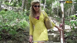 sexy blonde chick take a hike in the jungle