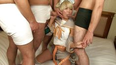 hot japanese in costume sucking dicks