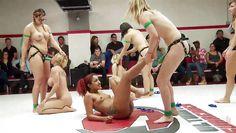 lesbians get kinky on the wrestling arena