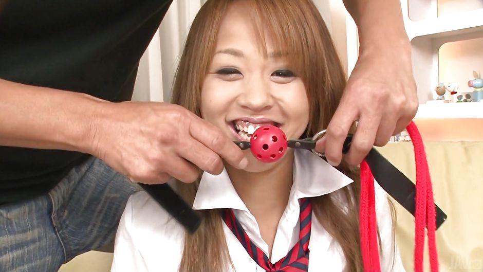 Ballgaged Asian Girl Fingered