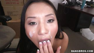 jizz on her pretty asian face