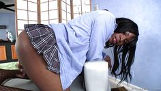curvy ebony shemale jerks off